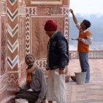 Renovators at the Taj Mahal - these were not the men that let me chisel my mark