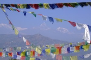 The Annapurna Mountains and Prayer Flags