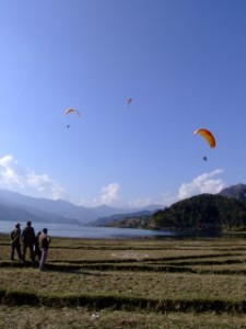 Paragliders in Pokhara, Nepal