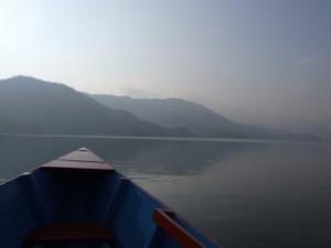 Rowing out to the world peace stupa, Pokhara, Nepal