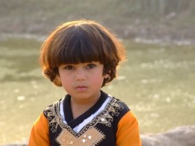 Small boy at Afghan reugee camp