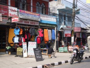 Trekking stores in Nepal selling lots of fake stuff! (click to enlarge)