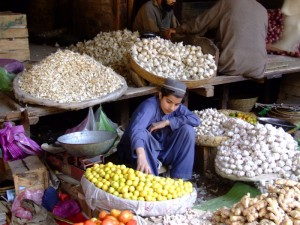 Boy selling Garlic in Pakistan (click to enlarge)