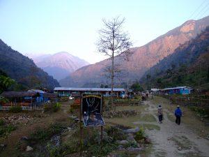 Tea houses at the start of the Annapurna Circuit Nepal
