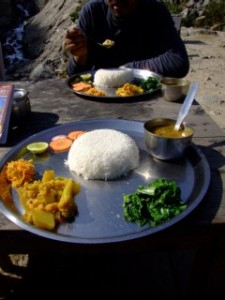 Dhal Bhat, typical Nepalese food on the Annapurna circuit and in Nepal