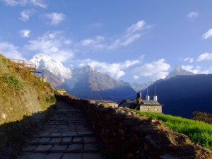 Mountain vista at the end of the Annapurna circuit, Nepal (click to enlarge)