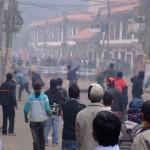 Students vs Riot Police, Kathmandu, Nepal (click to enlarge)