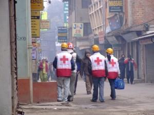 Medical Teams moving into acton, Kathmandu, Nepal (click to enlarge)