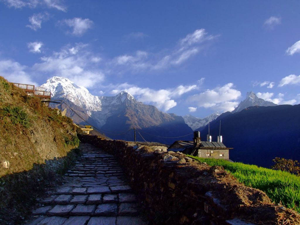 Mountain Vista at the end of the Annapurna Circuit Nepal