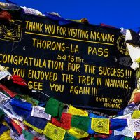 Throng La pass sign on the Annapurna Circuit Nepal
