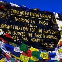Throng La pass sign on the Annapurna Circuit Nepal