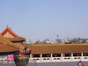 View of new Beijing from old Beijing, the forbidden city (click to enlarge)