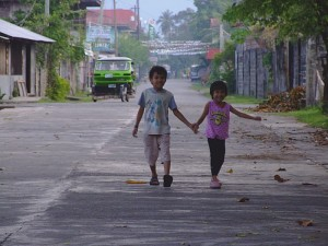 Children walking Hand in Hand, Brooke's Point, Palawan