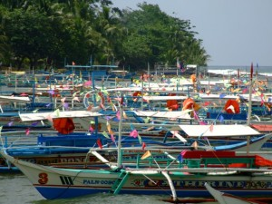 Fishing boats in dock, Sabang, The Philippines