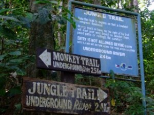 Monkey trail or Jungle trail sign in Sabang