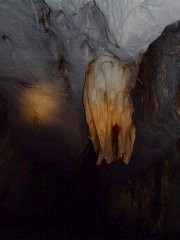 Strange unearthly shapes in the cave