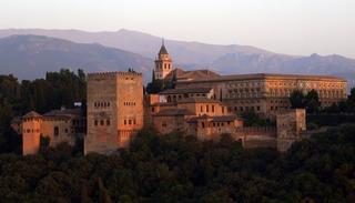 Alhambra, in Granada, Spain at sunset