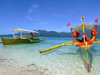 Colorful boats known as Bankas from in the Philippines