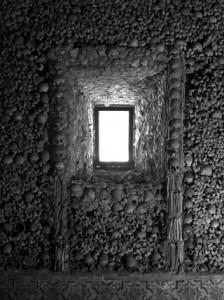 Window made of bone from the Chapel of Bones, Evora, Portugal