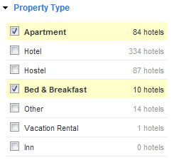 Search for hotels using fast filters