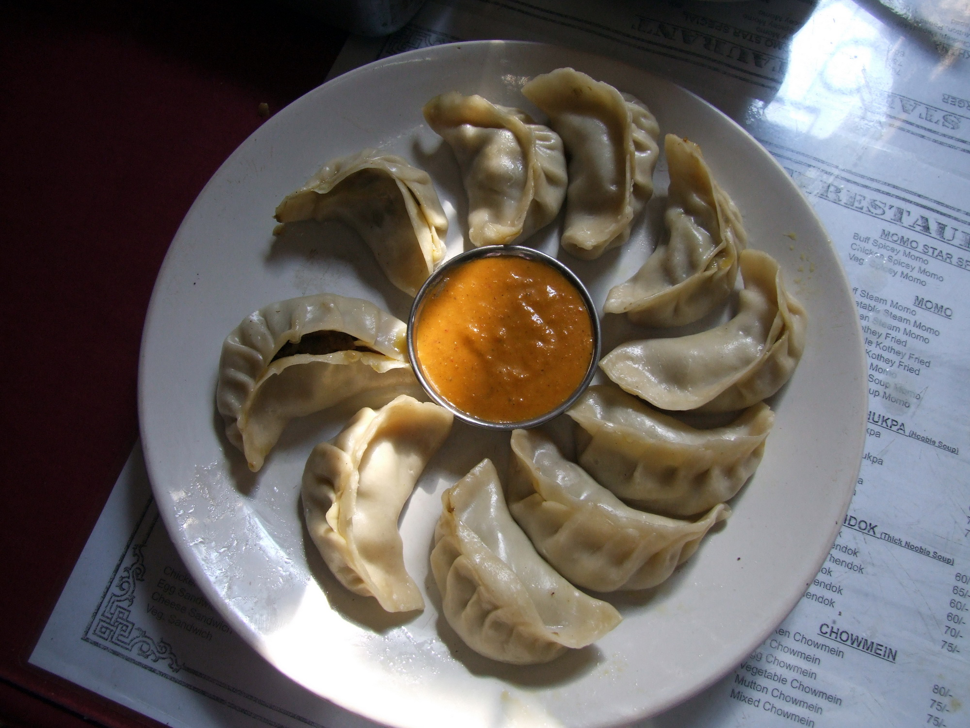 Plate of momo in Nepal