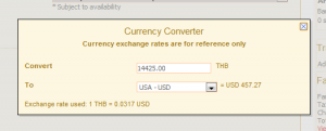 Air India currency converter shows the best price