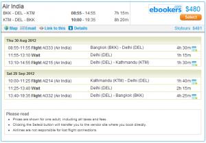 Flight details page