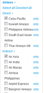 Select or de-select your airlines of choice