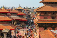 Crowds and rooftops of Patan, Nepal