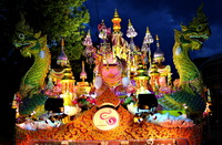 Decorative float during Loi Krathong parade in Chiang Mai, Thailand