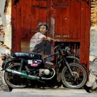 """Boy on a Motorbike"" street art, Ah Quee Street, George Town, Penang, Malaysia"