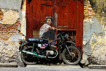 """Boy on a Motorbike"" street art, Ah Quee Street, George Town, Penang, Malaysia"