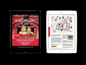 Kathmandu city guidebook on tablets