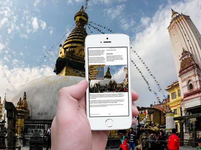 Kathmandu city guidebook on mobile