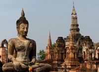 Seated Buddha at Wat Mahathat, Sukothoi, Thailand