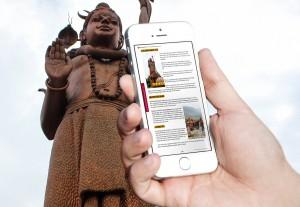 mobile phone and shiva statue Nepal