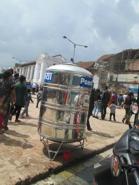 Water container in Kathmandu city after the earthquake
