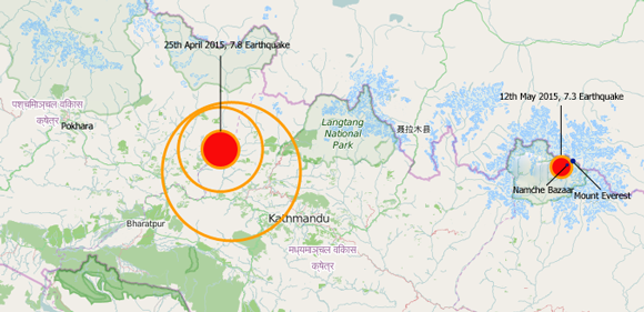 Map of the two earthquakes that struck Nepal