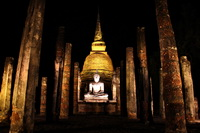 Sukothai Temples at night, Thailand