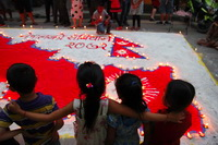 Children celebrating Nepal's new constitution