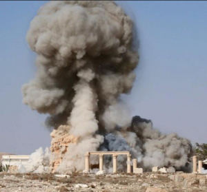 An ISIS photograph showing the group's destruction of Palmyra's Temple of Baalshamin.