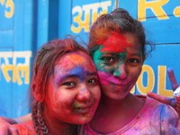 Girls celebrating Holi in Nepal