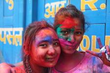 Girls celebrating Holi in Nepal
