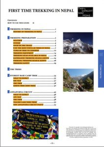 Trekking in Nepal table of contents