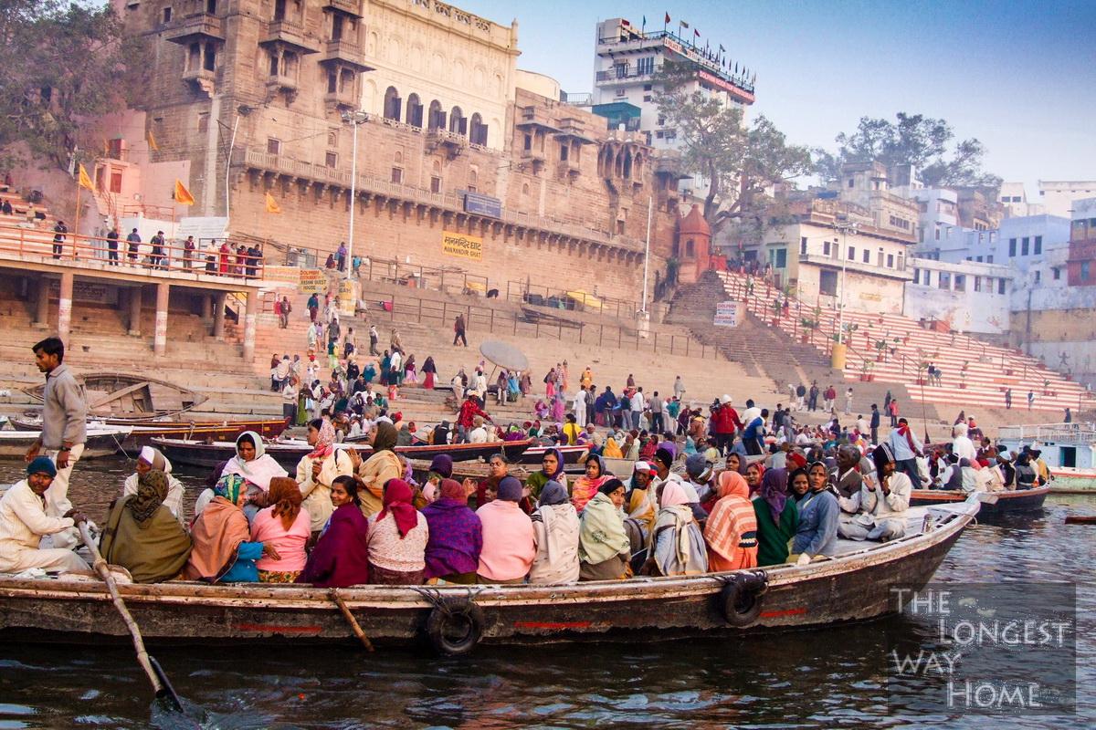 Boats along the Ganges in Varanasi, India