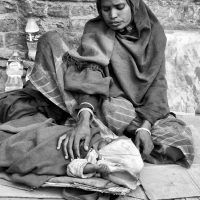 Homeless mother and baby in Nepal