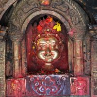 Stolen gold Bhairab statue in Thimi, Kathmandu, Nepal