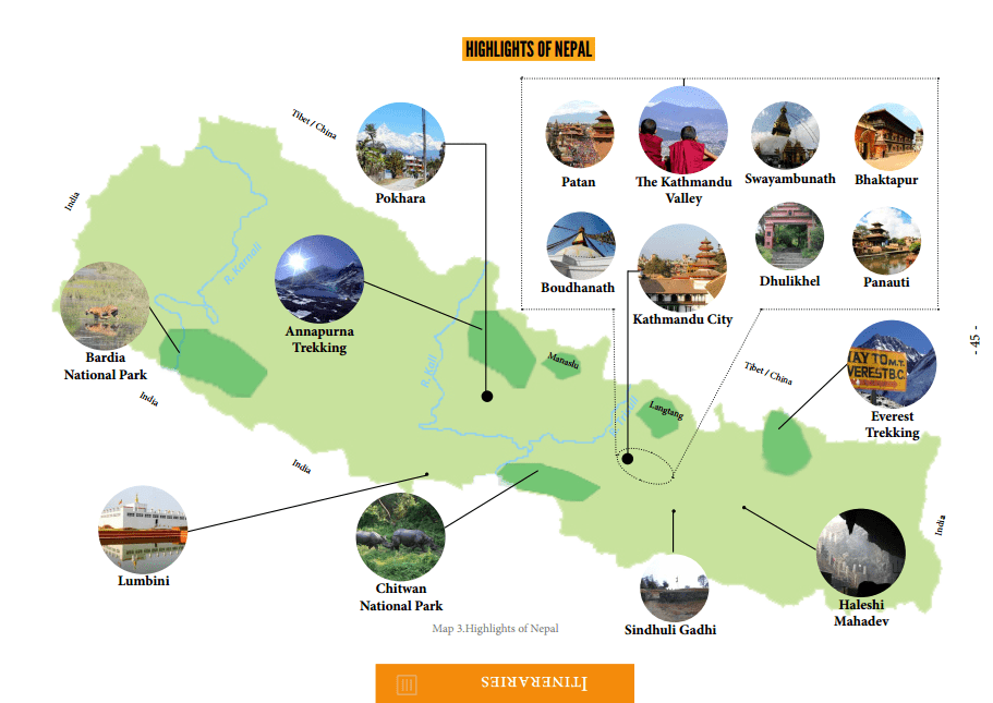 Nepal Map from guidebook
