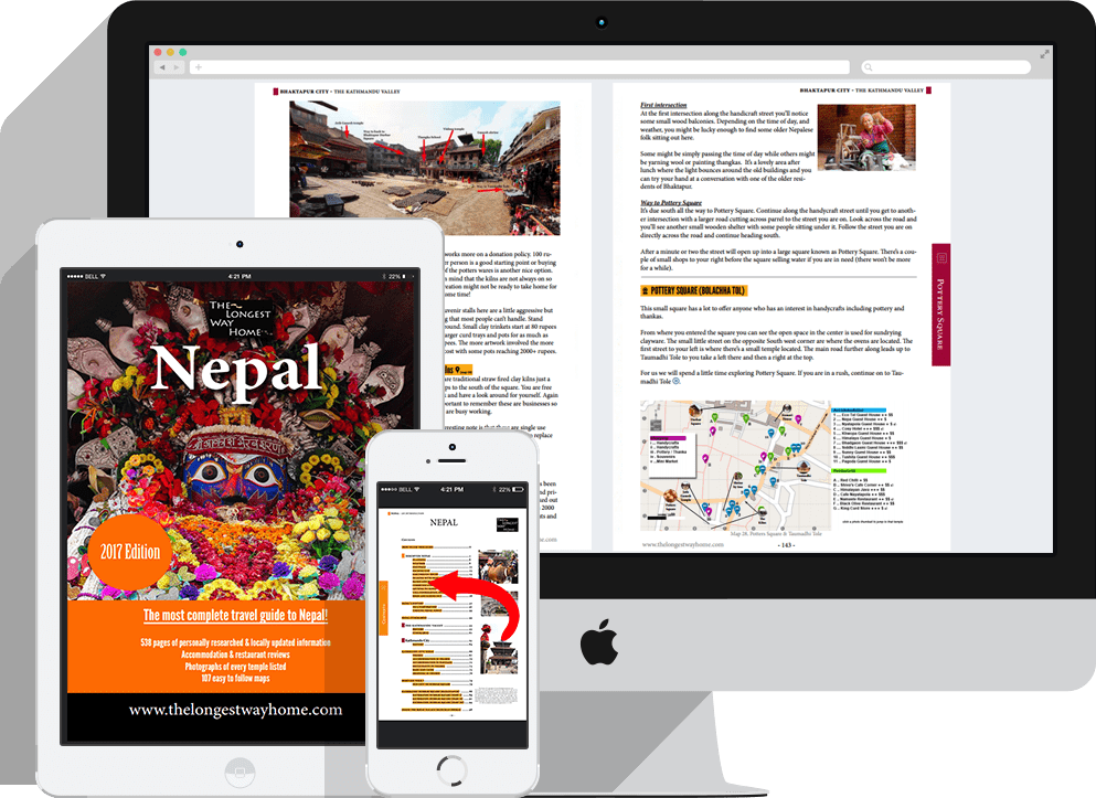 Nepal guidebook displayed on laptop, iPad tablet and mobile2