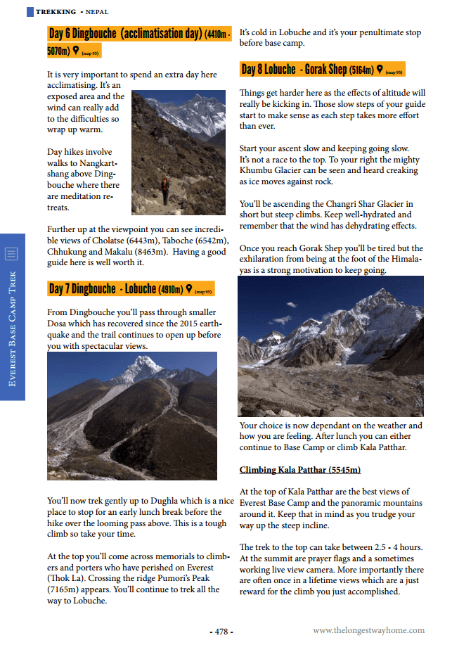Trekking page from Nepal guidebook